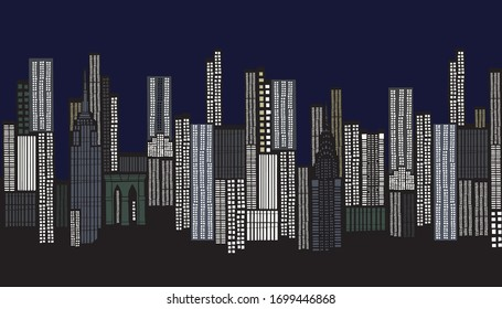The city view as a vector image, a calm city at dawn and evening