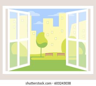 City view window background. Vector illustration flat design