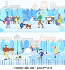 City winter park, ice rink and branches, people skating. Man walking with dog, snow and sleighs, outdoors activity, holiday atmosphere vector illustration