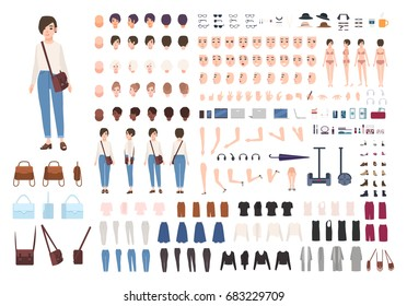 City woman character constructor. Nice girl creation set. Different postures, hairstyle, face, legs, hands, clothes collection. vector cartoon illustration. front, side, back view.