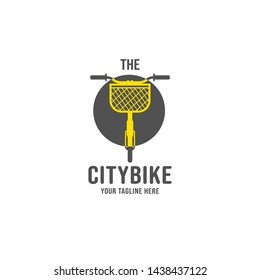 The citybike bicycle with front basket logo illustration, utillity bike with basket storage logo icon design vector front view illustration