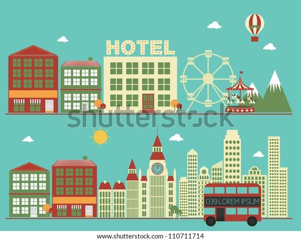 city/buildings vector/illustration