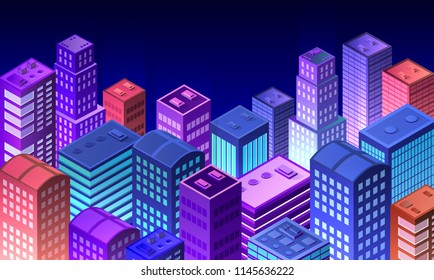 Cityscape 3d ultraviolet architecture city from isometric urban building street skyscraper. Vector concept business  violet modern digital illustration for background design.