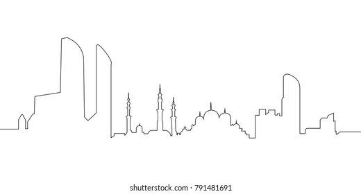 Cityscape of Abu Dhabi on a white background, Vector illustration