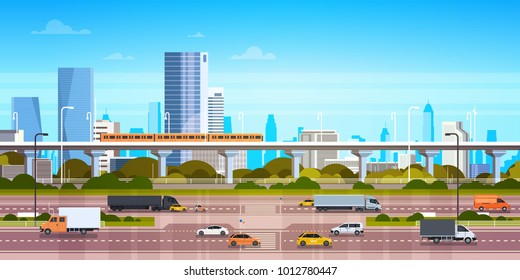 Cityscape Background Modern City Panorama With Highway Road And Subway Over Skyscrapers Flat Vector Illustration