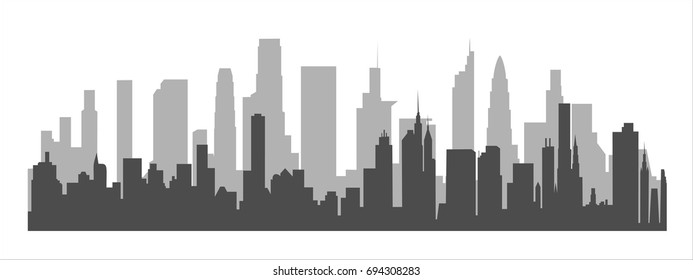 Cityscape background. Skyline silhouettes. Modern architecture. Horizontal banner with megapolis panorama. Building icon. Vector illustration