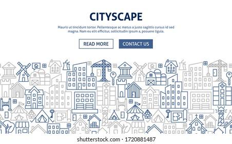 Cityscape Banner Design. Vector Illustration of Outline Poster.