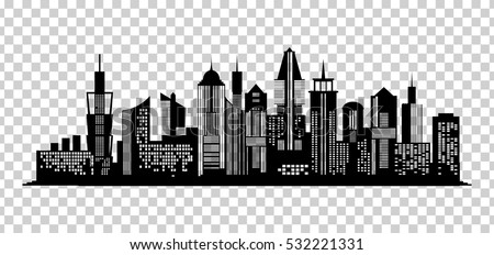 cityscape black icon on transparent background stock vector royalty