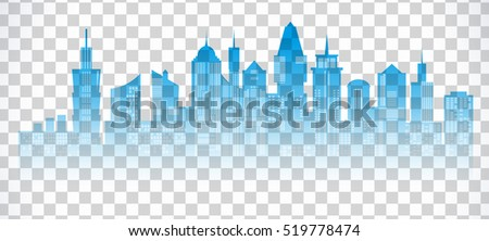 d6aedb236d3 Cityscape blue icon on transparent background. Skyline silhouette. Town  architecture skyscrapers. International urban