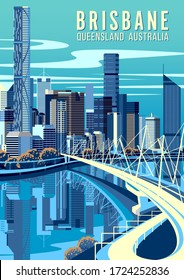 Cityscape of Brisbane, capital of Queensland, Australia with bridge, river and downtown in the background. Handmade drawing vector illustration. Pop art style poster.