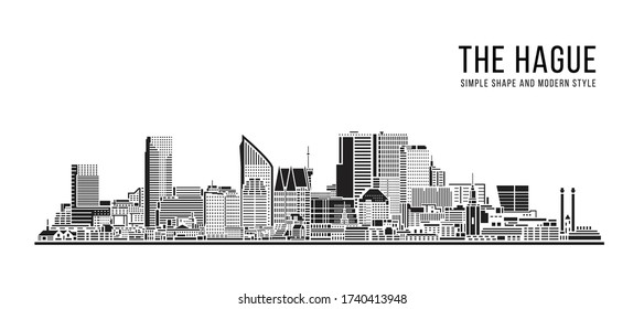 Cityscape Building Abstract Simple shape and modern style art Vector design - The hague city