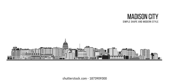 Cityscape Building Abstract Simple shape and modern style art Vector design - Madison city