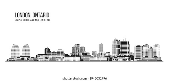 Cityscape Building Abstract Simple shape and modern style art Vector design - London, Ontario