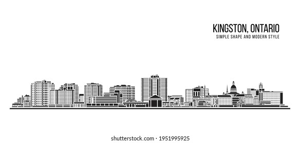 Cityscape Building Abstract Simple shape and modern style art Vector design - Kingston, Ontario