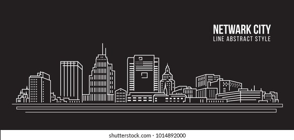 Cityscape Building Line art Vector Illustration design - Netwark city