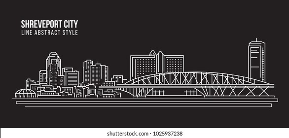 Cityscape Building Line art Vector Illustration design - Shreveport city