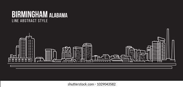 Cityscape Building Line art Vector Illustration design - Birmingham city Alabama
