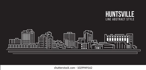 Cityscape Building Line art Vector Illustration design - huntsville city