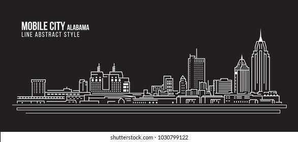 Cityscape Building Line art Vector Illustration design - Mobile city (Alabama)