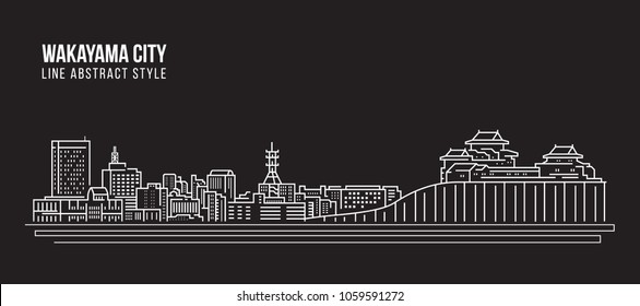Cityscape Building Line art Vector Illustration design - Wakayama city