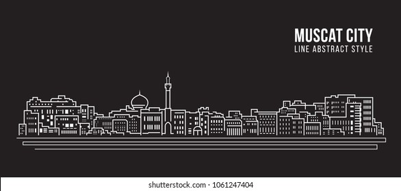 Cityscape Building Line art Vector Illustration design - Muscat city