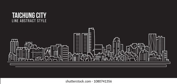 Cityscape Building Line art Vector Illustration design - Taichung city
