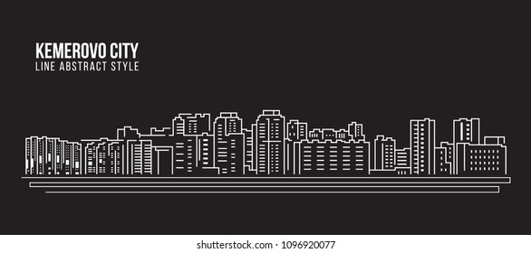 Cityscape Building Line art Vector Illustration design - Kemerovo city