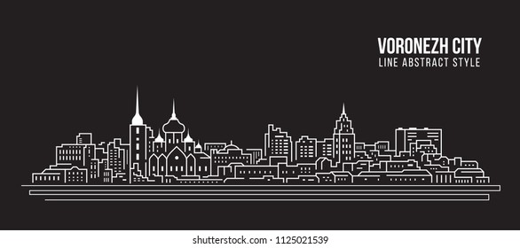 Cityscape Building Line art Vector Illustration design - Voronezh city