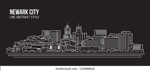 Cityscape Building Line art Vector Illustration design - Newark city