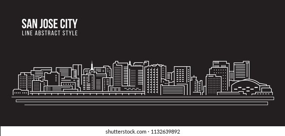 Cityscape Building Line art Vector Illustration design - san jose city