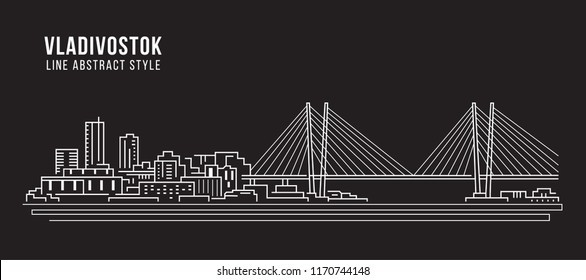 Cityscape Building Line art Vector Illustration design - Vladivostok city