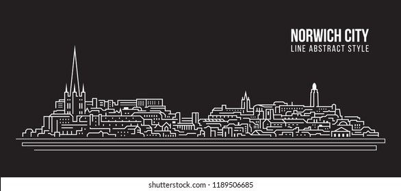Cityscape Building Line art Vector Illustration design - Norwich city
