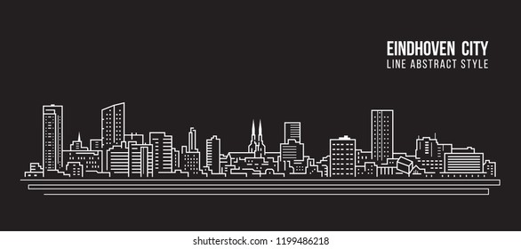 Cityscape Building Line art Vector Illustration design - Eindhoven city