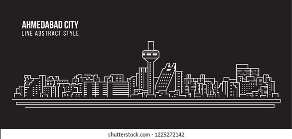 Cityscape Building Line art Vector Illustration design - Ahmedabad city