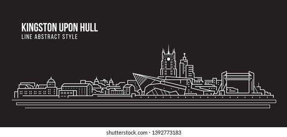 Cityscape Building Line art Vector Illustration design -  Kingston upon hull city