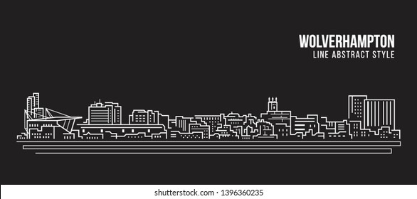 Cityscape Building Line art Vector Illustration design -  Bristol city