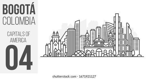 Cityscape Building Line art vector Illustration design - Bogota city, Colombia. Landscape with editable strokes.