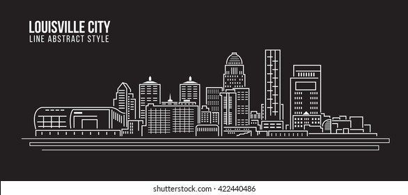 Cityscape Building Line art Vector Illustration design - Louisville City