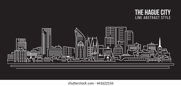 Cityscape Building Line art Vector Illustration design - The hague city