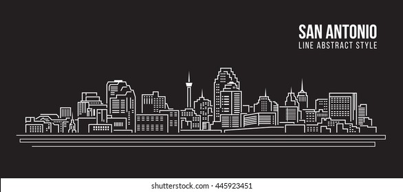 Cityscape Building Line art Vector Illustration design -  San Antonio city