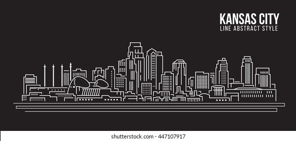 Cityscape Building Line art Vector Illustration design - Kansas city