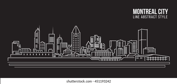Cityscape Building Line art Vector Illustration design - Montreal city