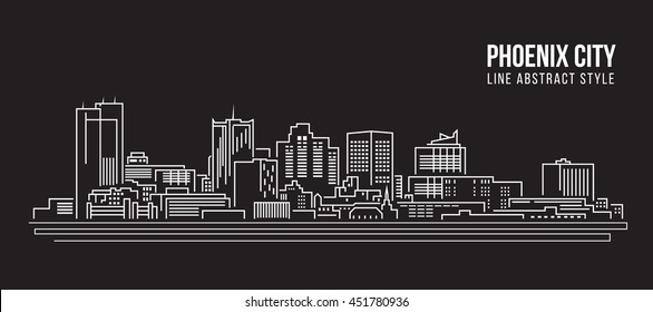Cityscape Building Line art Vector Illustration design - Phoenix city