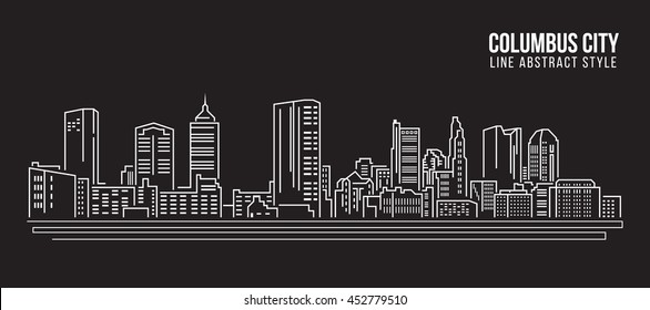 Cityscape Building Line art Vector Illustration design - Columbus city