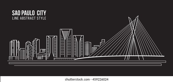 Cityscape Building Line art Vector Illustration design -  Sao paulo city
