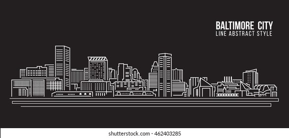Cityscape Building Line art Vector Illustration design - Baltimore City