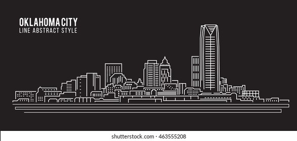 Cityscape Building Line art Vector Illustration design - Oklahoma city