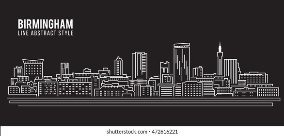 Cityscape Building Line art Vector Illustration design - Birmingham city