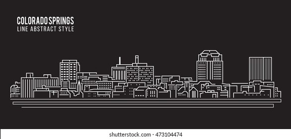 Cityscape Building Line art Vector Illustration design - Colorado springs city