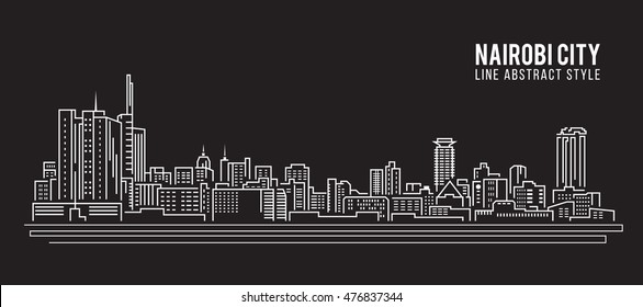 Cityscape Building Line art Vector Illustration design - Nairobi city